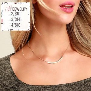 2/$10 Minimalist Dainty Gold Curved Bar Necklace